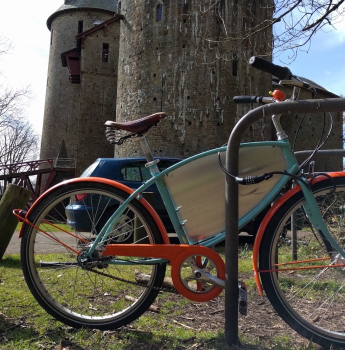 bike rack at castle coch with bike locked to it