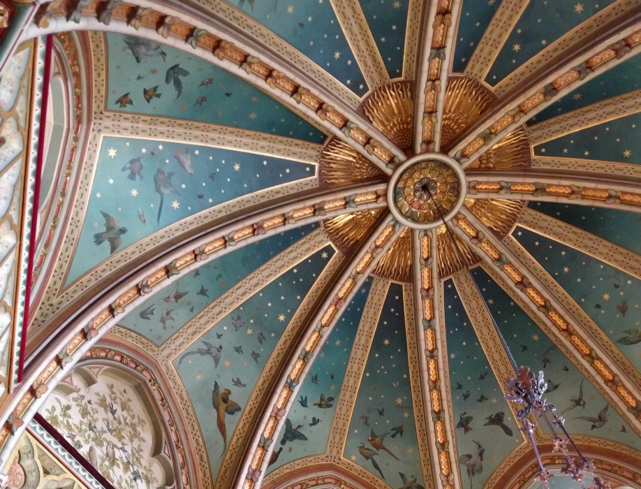 Blue ceiling with gold detail in Castle Coch