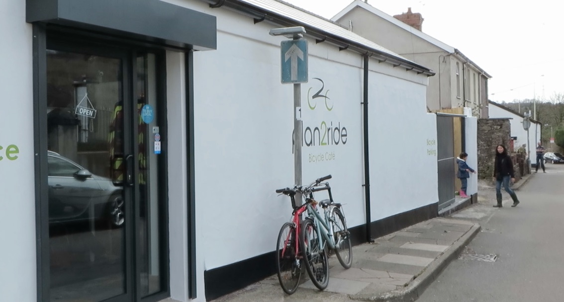 Outside of Plan2Ride Cyclist Cafe in Tongwynlais