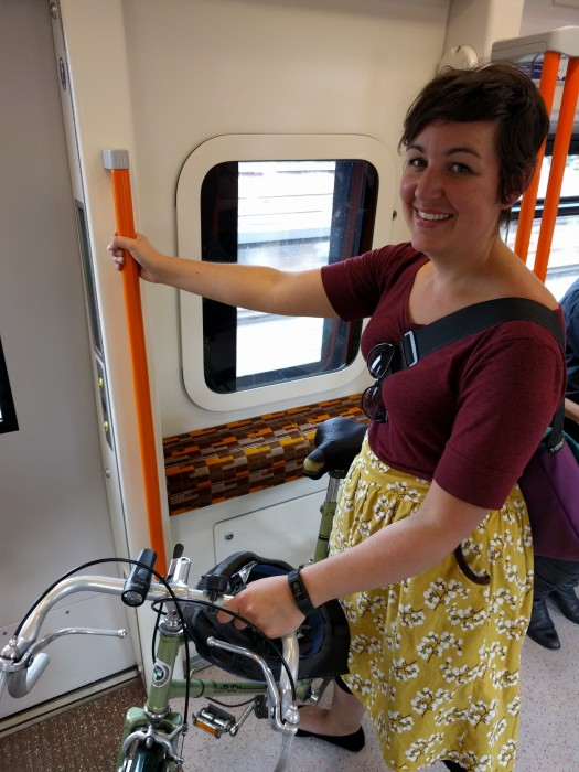 ellen with a bike on the london overground