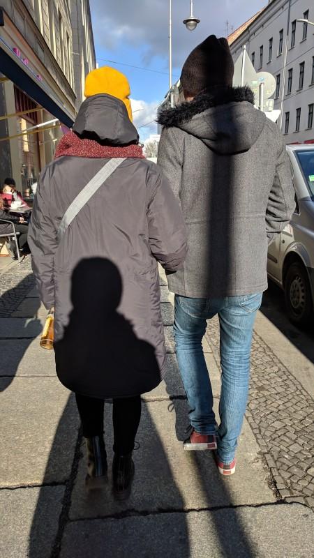 Jamie, Martta, Ellen walking to brunch in Berlin