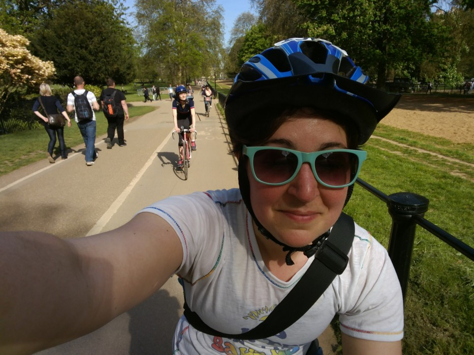 Cycling through Hyde Park