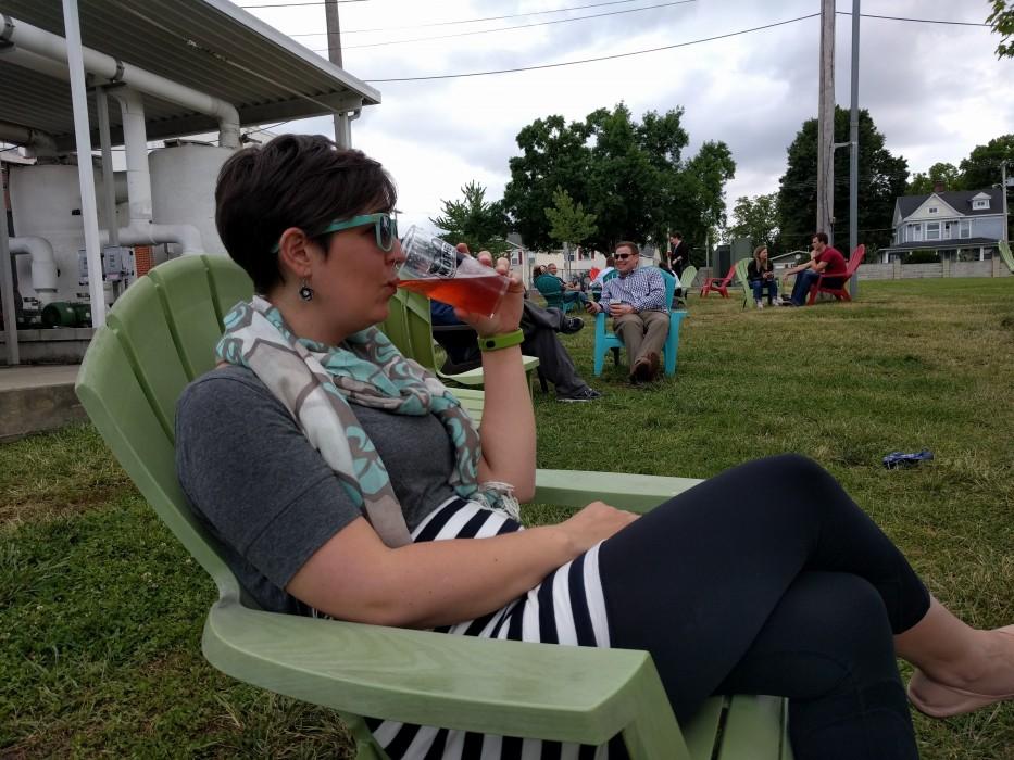 Ellen drinking beer at Mother's