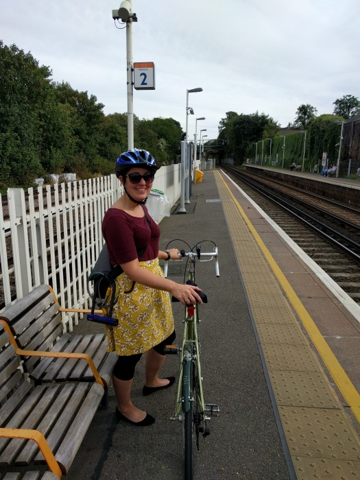 waiting at wandsworth road overground station with a bike